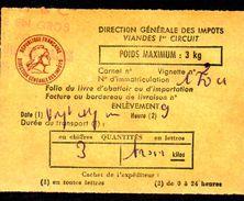 Fiscal, Fiscaux, Taxe Contrôle Des Viandes N° 121 -3 Kg - Fif : AT51 - Papier Orange - Fiscale Zegels