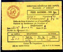 Fiscal, Fiscaux, Taxe Contrôle Des Viandes N° 128 - 500 Kg - Fif : AT51 - Papier Orange - Fiscale Zegels