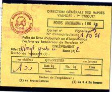 Fiscal, Fiscaux, Taxe Contrôle Des Viandes N° 126 - 100 Kg - Fif : AT66 - Papier Orange - Fiscale Zegels