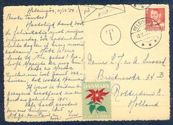 G165- Postal Used Post Card. Posted From Denmark To Holland. Flower. - Denmark