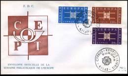 (E1421)  Grieks Cyprus  - FDC - Europa CEPT 1963 - Europa-CEPT