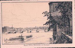 Basel, Rheinbrücke Und Dampfer, Litho (36217) - BS Bâle-Ville