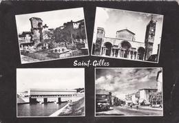 CPSM  Dentelée En NB De SAINT-GILLES  (30)  -  Vues  Diverses    //   TBE  (début De Pli Angle Bas Droit) - Saint-Gilles