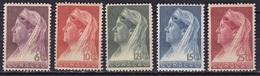 Curacao 1936 Koningin Wilhelmina Met Sluier 5 Waarden Van De Serie NVPH 126 / 129 - 132 Postfris - Curaçao, Nederlandse Antillen, Aruba