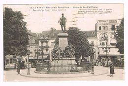 CPA SARTHE 72 - LE MANS PLACE DE LA RÉPUBLIQUE STATUE DU GÉNÉRAL CHANZY 1933 - Le Mans