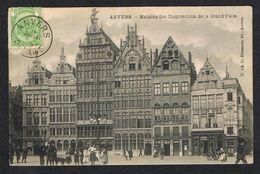 ) OUDE POSTKAART ANVERS  MAISONS DES CORPORATIONS DE LA GRAND'PLACE  1907 - Antwerpen