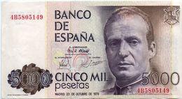 ESPAÑA SPAIN ESPAGNE 1979 5000 PESETAS JUAN CARLOS Serie 4B EBC TTB PICK 160 - [ 4] 1975-… : Juan Carlos I