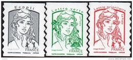 Autoadhésif(s) De France N° 1214 - 1214 A - 1215 A ** Marianne De Ciappa, Ecopli Vert, Sans Les Poids (Verso Blanc-Pro) - France