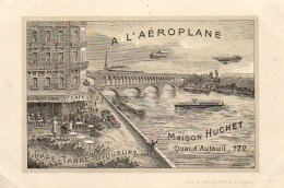 """75 PARIS 16e  Pub Pour Le Café Tabac """"A L'Aéroplane"""" 172 Quai D'Auteuil - Cafés, Hôtels, Restaurants"""
