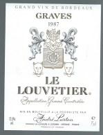 Etiquette  Vin De Bordeaux  Le Louvetier Graves  1987  André Lurton Propriétaire Léognan - Bordeaux
