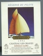 """Etiquette  Vin De Bordeaux  Chateau Le Graves Bordeaux Clairet  Réserve Du Pilote Marie Fernand Contre Pilote """"bateau"""" - Bordeaux"""