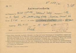 BERLIN W 35 -  1949 , Antwortschein Telegramm Nach Oakland / USA - Covers & Documents