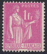 FRANCE Francia Frankreich - 1937 - Yvert 369 Nuovo Senza Gomma, Paix, 1 F, Rosa. - 1932-39 Peace