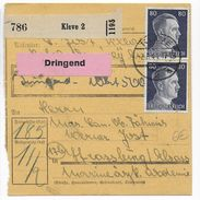 "III° REICH - 1941 - CARTE COLIS POSTAL ""PAKETKARTE"" De KLEVE => STRASBOURG - Alemania"