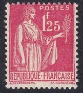 FRANCE Francia Frankreich - 1939 - Yvert 370 Nuovo Con Traccia Di Linguella, Paix, 1,25 F, Rosa. - 1932-39 Peace