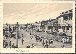 VIA CENTRALE ADDIS ABEBA SPECTACULAR CPA CIRCOLATA A S.A.R. FILIBERTO DI SAVOIA ANNO 1936  CPA TBE UNIQUE EN DELCAMPE - Eritrea