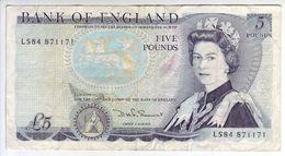 ROYAUME UNI - GRANDE BRETAGNE - Billet De 5 Pounds. (1971-91). Pick: 378c. TTB+ - 1952-… : Elizabeth II