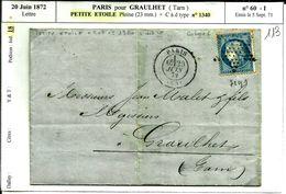 Lettre 20 Juin 1872 Paris Pour Graulhet Tarn   N°113 - 1871-1875 Cérès