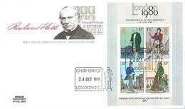 Großbritannien 1979:  2x FCD Mit Block Nr.2° (804-807) - 100. Todestag V. Sir Rowland Hill - Unterschiedl. Stempel#A41 - 1971-1980 Dezimalausgaben