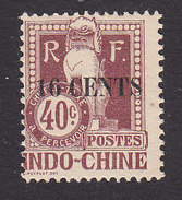 Indo China, Scott #J25, Mint Hinged, Dragon Surcharged, Issued 1919 - Indochina (1889-1945)