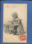 VIENNE 133 CPA VIENNOISE Petite Fille Attelage Chien Poupée Basset Teckel Gui BONNE ANNEE - Illustrators & Photographers