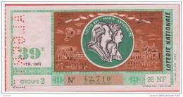Loterie Nationale 1962 - 39 ème Tr. - Entier De 26 NF.- ALGERIE - Louis XVI - Marie Antoinette - Biglietti Della Lotteria