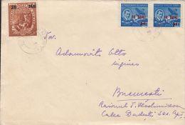 FIVE YEAR PLAN, METALURGY, AUREL VLAICU, PLANE, OVERPRINT STAMPS ON COVER, 1952, ROMANIA - 1948-.... Republiken