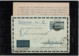 CTN38 - POLOGNE ENVELOPPE AVION ZAK / PARIS JUIN 1956 AVEC CONTENU - Stamped Stationery
