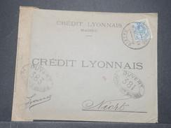 ESPAGNE - Enveloppe Commerciale De Madrid Pour Niort En 1918 Avec Contrôle Postal Militaire , Timbre Perforé - L 9235 - 1889-1931 Royaume: Alphonse XIII