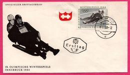 FDC - Bobsleigh - Luge - IX Olympische Winterspiele Innsbruck 1964 - Ersttag - Kurort Igls - 1963 - Hiver 1964: Innsbruck