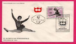 FDC  - J.O. - Patinage Artistique - IX Olympische Winterspiele Innsbruck 1964 - Ersttag - Republik Üsterreich - Patinage Artistique