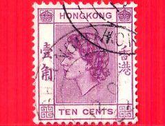 HONG KONG - Usato - 1954 - Regina Elisabetta II (1954-1960) - Ten Cents - 10 - Usati