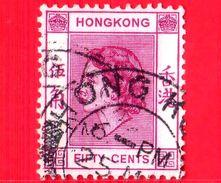 HONG KONG - Usato - 1954 - Regina Elisabetta II (1954-1960) - Fifty Cents - 50 - Usati