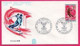 FDC N° 629 - J.O. - Ski - Slalom - COMBET - Jeux Olympiques D'Hiver Grenoble 1968 - Ski