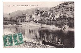 15 Vieillevie Les Bords Du Lot Cpa Animée Barque Cachet 1910 - Other Municipalities