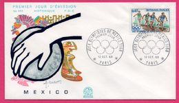FDC N° 653 - J.O. - Jeux Olympiques D'Hiver Grenoble 1968 - Athlétisme - Mexico - Paris - COMBET - 1968 - Sommer 1968: Mexico