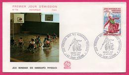 FDC N° 729 - Jeux Mondiaux Des Handicapés Physiques - Basket Ball - Lancé De Javelot - Saint Étienne 1970 - COMBET - Handisport