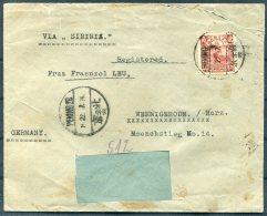 1924 China Peking Hugo Leu, Architect Registered Cover - Wernigerode, Germany - China