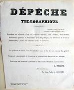 COMMUNE DE PARIS 21 MAI 1871 DEPECHE TELEGRAPHIQUE ANNONCANT LA CHUTE DE LA PORTE DE SAINT CLOUD - Documents