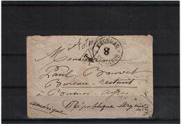 CTN38 - ENVELOPPE CARTE DE VISITE TAXEE A L'ARRIVEE POUR INSUFFISANCE 14/6/1890 - TIMBRE FRANCAIS ENLEVE - Argentine