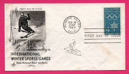 FDC - J.O. - Ski - Commemorating The Intrenational Winter Sports Games - Tahoe National Forest California 1960 - Winter 1960: Squaw Valley