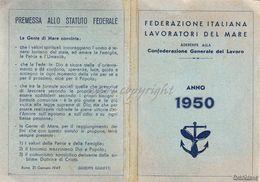 """TESSERA_""""FEDERAZIONE ITALIANA LAVORATORI DEL MARE"""" _ANNO 1950--BUONA CONSERVAZIONE_ORIGINALE 100%- - Publicidad"""