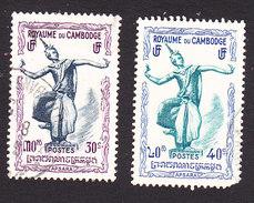 Cambodia, Scott #3-4, Used, Apsaras, Issued 1951 - Cambodge
