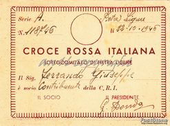 """TESSERA_1946 """"CROCE ROSSA ITALIANA-SOTTOCOMITATO DI PIETRA LIGURE_ORIGINALE 100%- - Pubblicitari"""