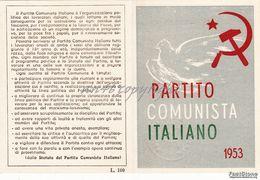 TESSERA_PARTITO COMUNISTA ITALIANO 1953_FALCE E MARTELLO-ORIGINALE 100% - Pubblicitari