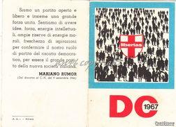 TESSERA_PARTITO DEMOCRAZIA CRISTIANA ANNO 1967_MARIANO RUMOR-ORIGINALE 100% - Pubblicitari