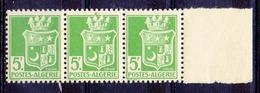 Colonies Françaises Et Protectorats (ALGERIE) - 1942 - Bande De 3 N° 183d - 5 F. Vert-jaune - (Papier Bristol, Vs Jaune) - Algerien (1924-1962)