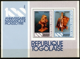 Togo, 1981, Pablo Picasso, Sculptures, MNH, Michel Block 183 - Togo (1960-...)