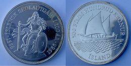 ICELAND 500 K 1986 ARGENTO NAVE VELIERO SHIP ICELANDIS BANKNOTE ANNIVERSARY PESO 20g TITOLO  0,500 CONSERVAZIONE FDC - Islande