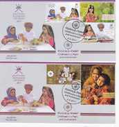 Oman New Issue 2017, Childhood Right Sheetlet Of 5 Stamps Copl,  On 2 FDC-nice Topical Set- SKRILL PAY. ONLY - Oman